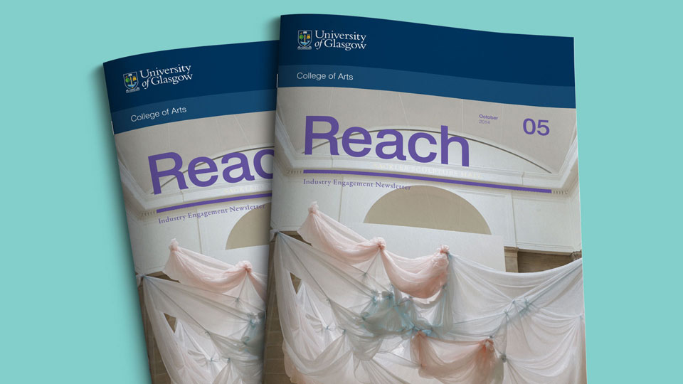 Brand refresh for Glasgow University College of Arts industry engagement newsletter - Reach
