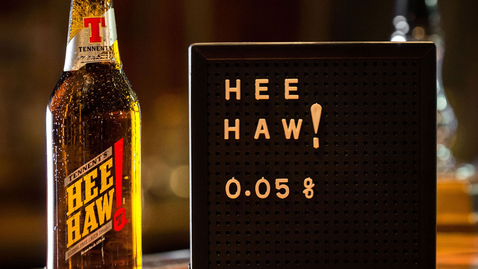 Our branding and packaging design for Tennent's Hee Haw - designed to ensure all age groups feel comfortable with a bottle of Hee Haw in their hand
