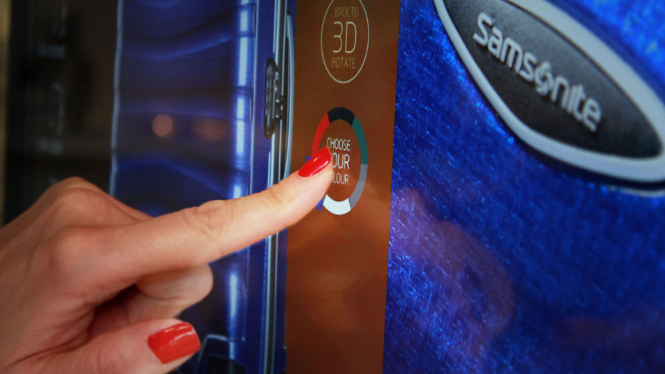 Samsonite customers learn more about the brand and its market leading products through a 2.5 meter wide touchscreen