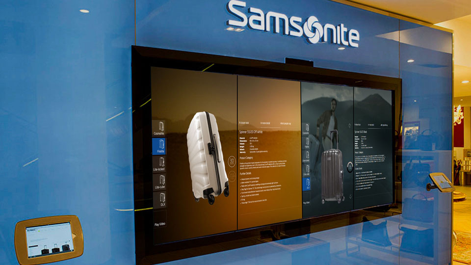 The Samsonite interface enables customers to explore the brand which is brought to life in an interactive space