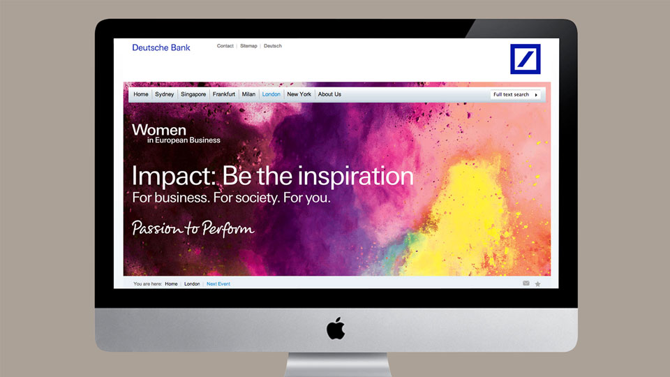 Colourful creative for Women in European Business event on Deutsche Bank website