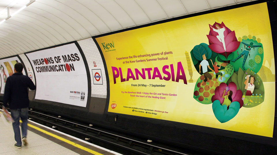 The Plantasia 2014 campaign featured on underground billboards across London