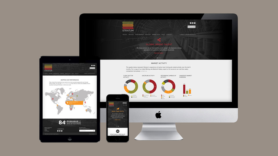 Fully responsive website designs ensure the Stratum website works well on desktop, tablet and mobile