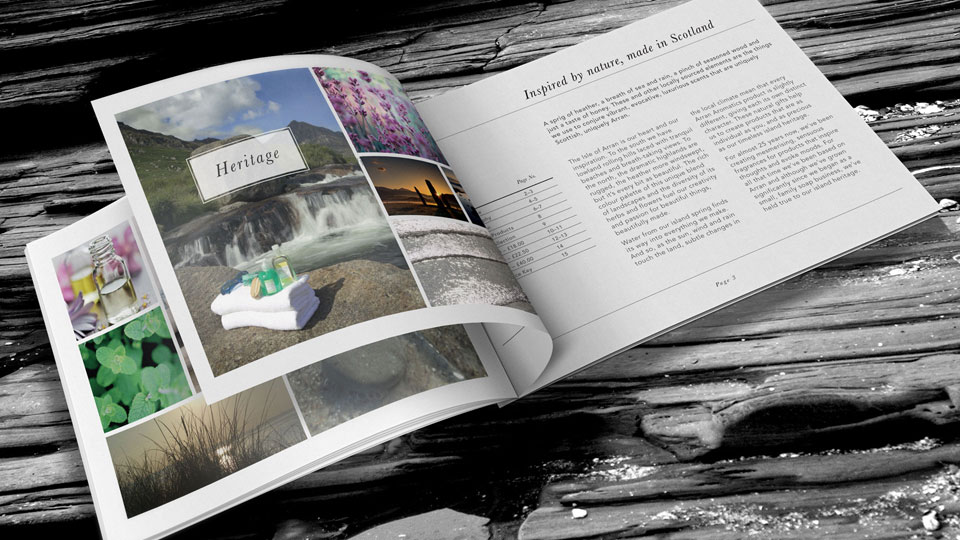 Marketing literature and photography for Arran Aromatics to capture the brand's unique island heritage