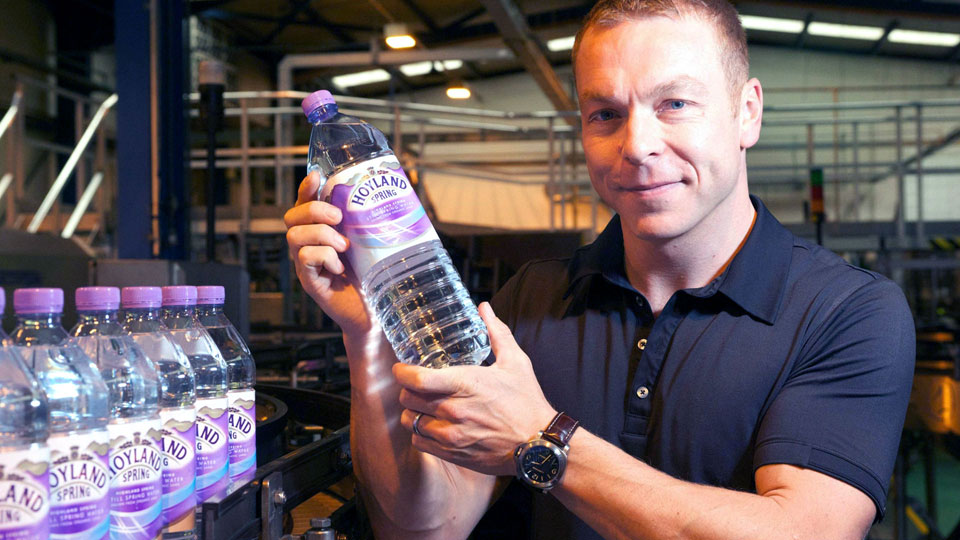 Chris Hoy with branding and packaging designs for Highland Spring