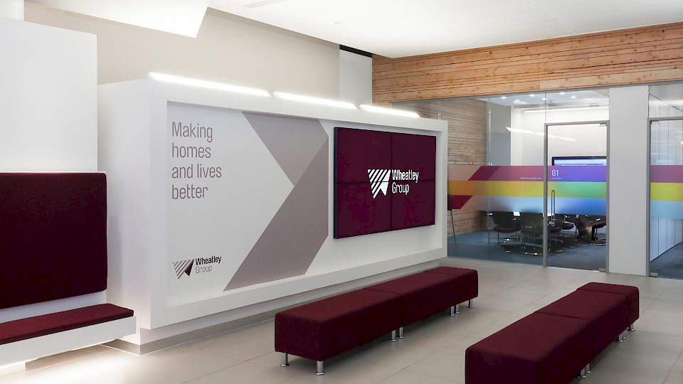 Wheatley Group - interior branding and design in situ
