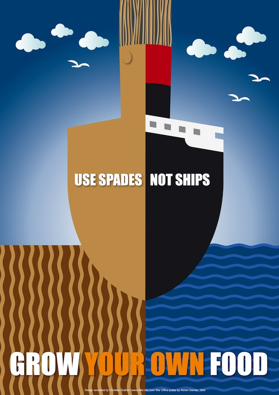 Use spades, not ships - grow your own food campaign creative by Abram Games