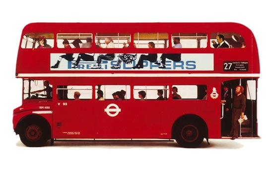 Pirelli slippers bus advert by Alan Fletcher