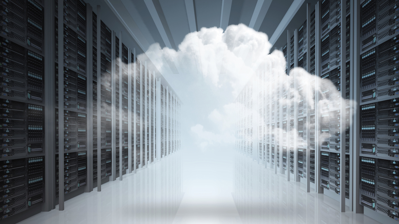 Image of a data warehouse with clouds inside.