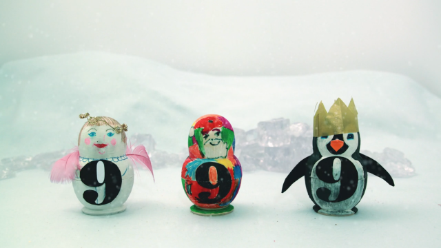 Still of three 'Russian doll' penguins from 999 Design's festive stop-motion animation
