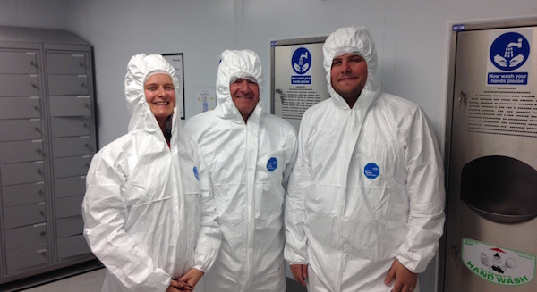 Jude, Richard and John-Paul on a tour of Vascutek's clean rooms