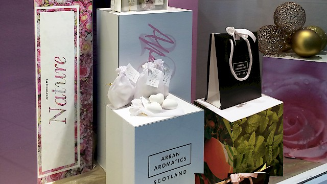 Arran Aromatics' window display and packaging