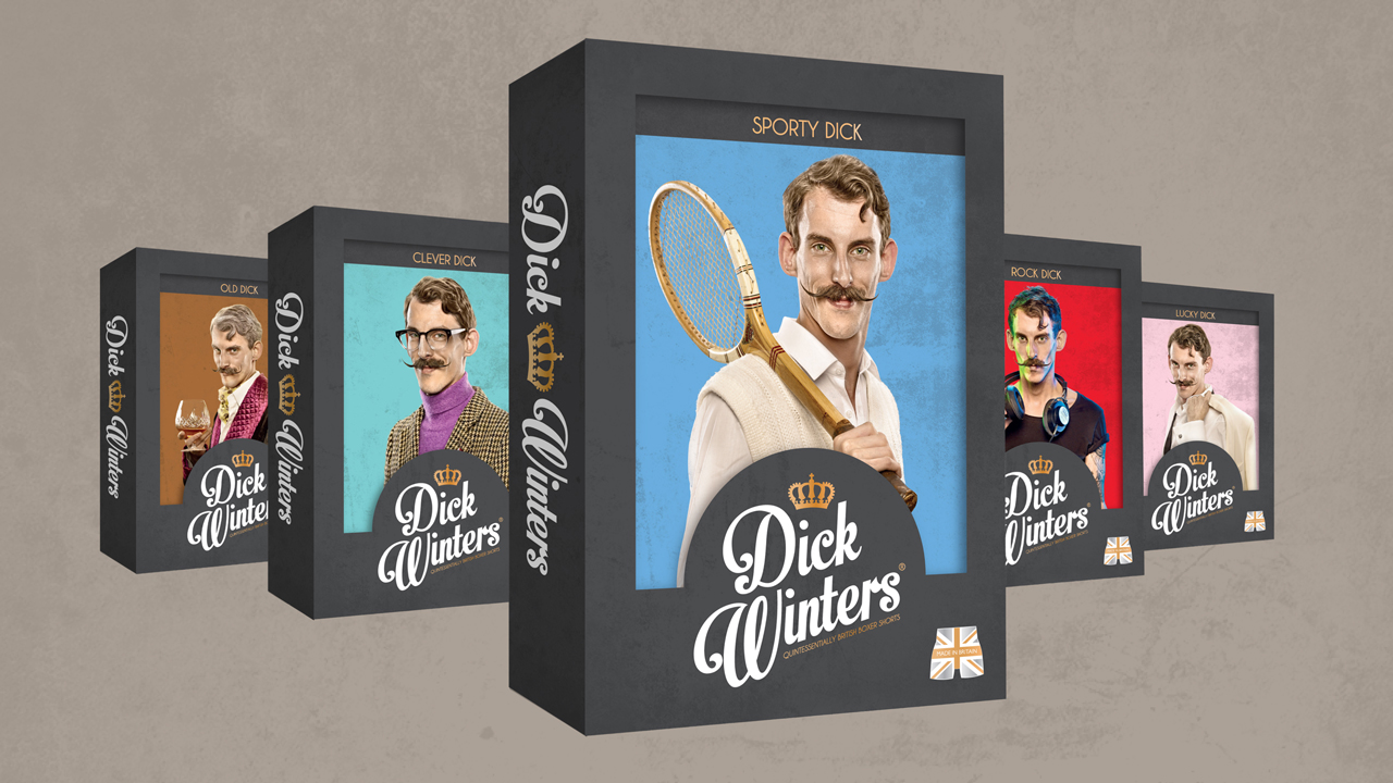 Packaging boxes for Dick Winters product range - Classic Dick, Rock Dick, Sporty Dick, Lucky Dick and Old Dick