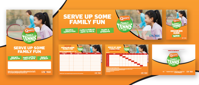 Marketing literature showing new visual identity for the LTA Quorn Family Tennis Cup