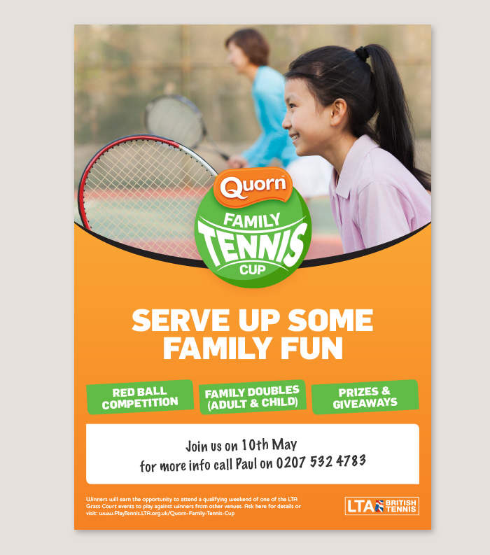 Marketing literature showing visual identity for the LTA Quorn Family Tennis Cup