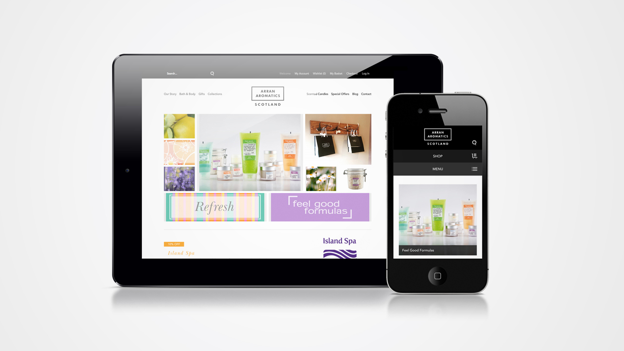 Arran Aromatics website on desktop and mobile device