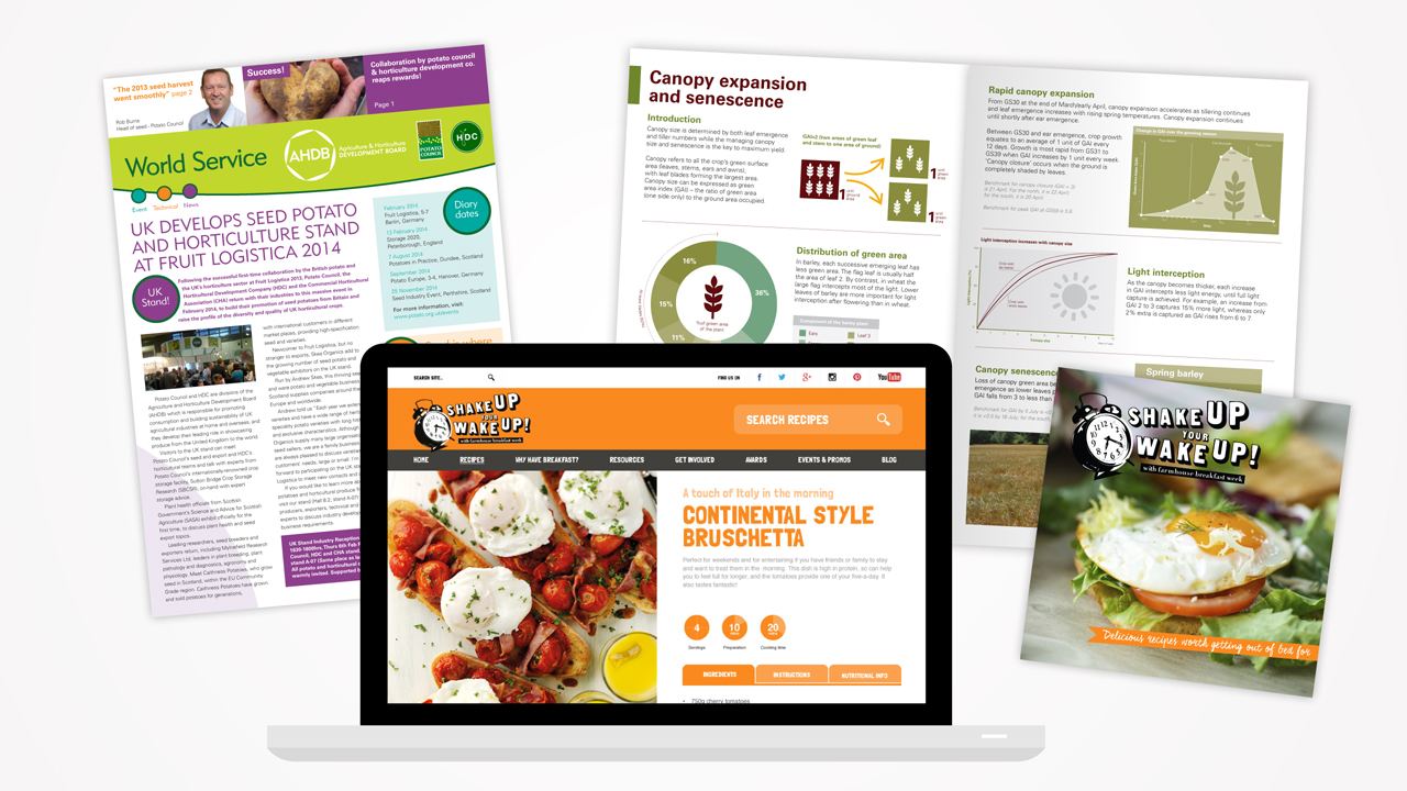 Agriculture & Horticulture Development Board - marketing literature and website spread
