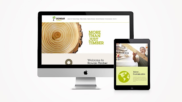 The Rowan Timber responsive website on desktop and mobile devices