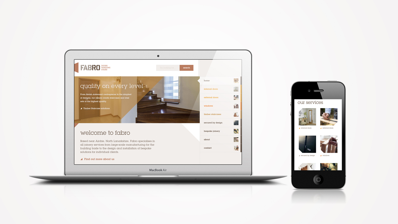 Fabro website on dektop and mobile device
