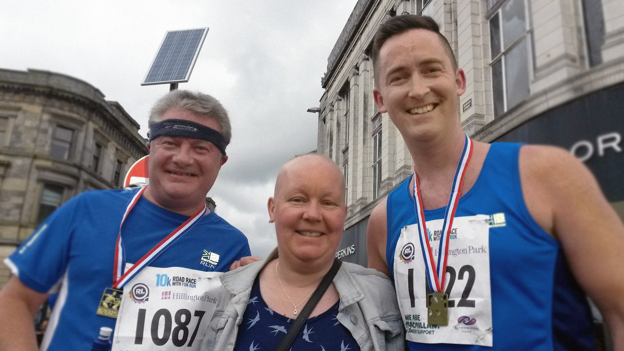 Lewis with running buddy, Keith and their friend Carol after the Paisley 10K