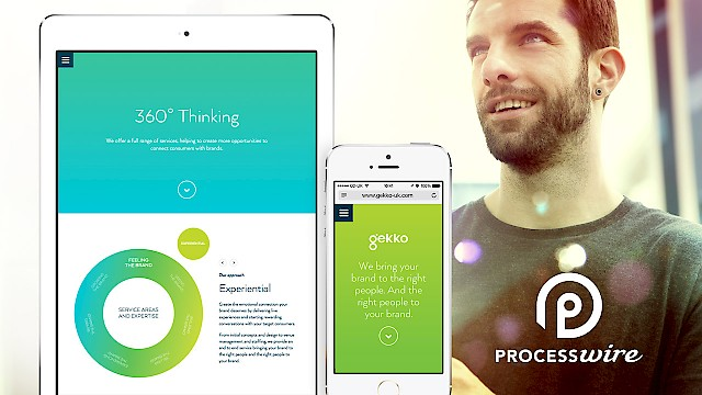 Gekko website show on an iPad and an iPhone with ProcessWire logo
