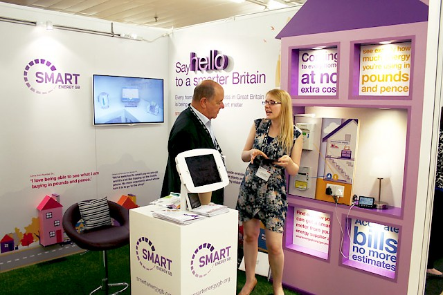 Smart Energy GB exhibition stand - client with representative