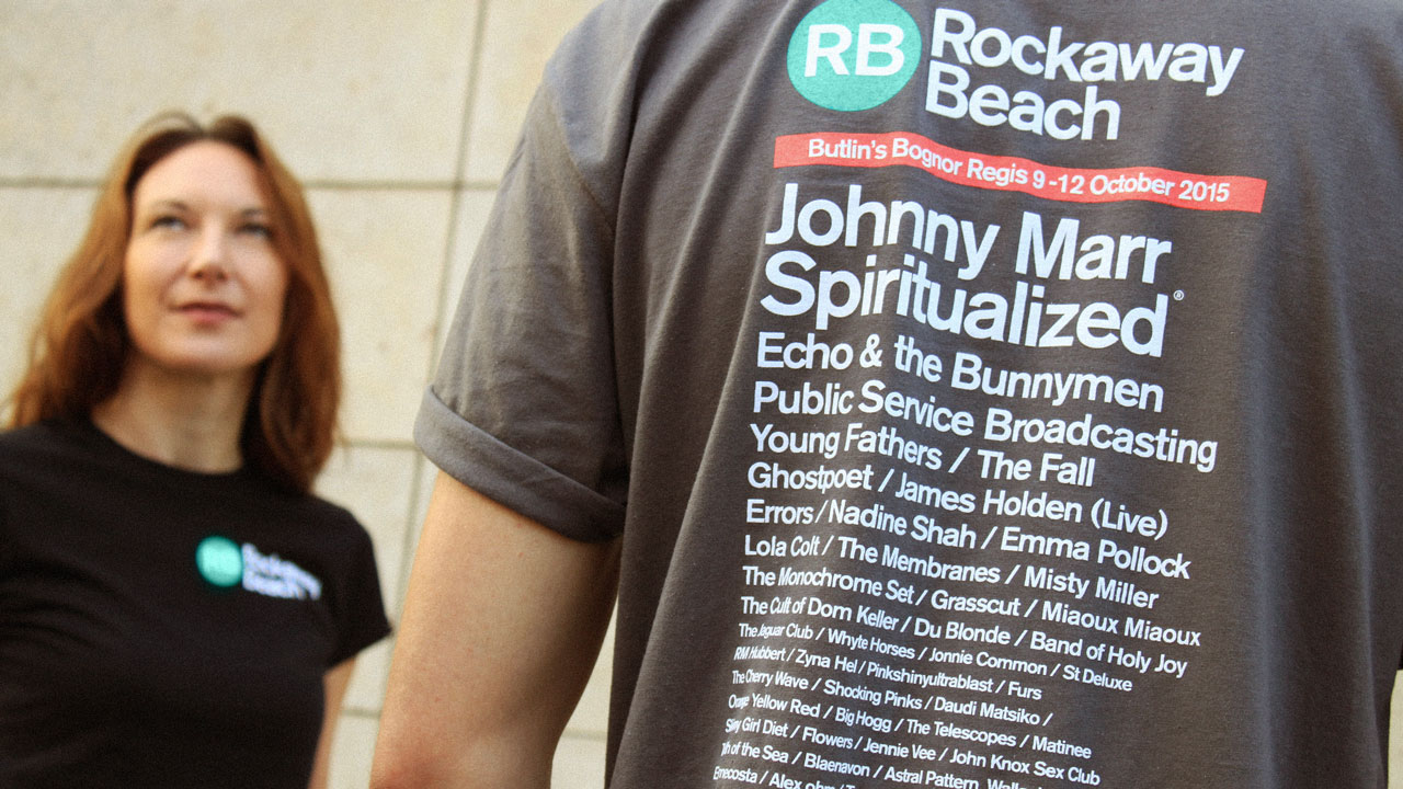 Rockaway Beach - line-up on the back of t-shirt worn by 999 designer
