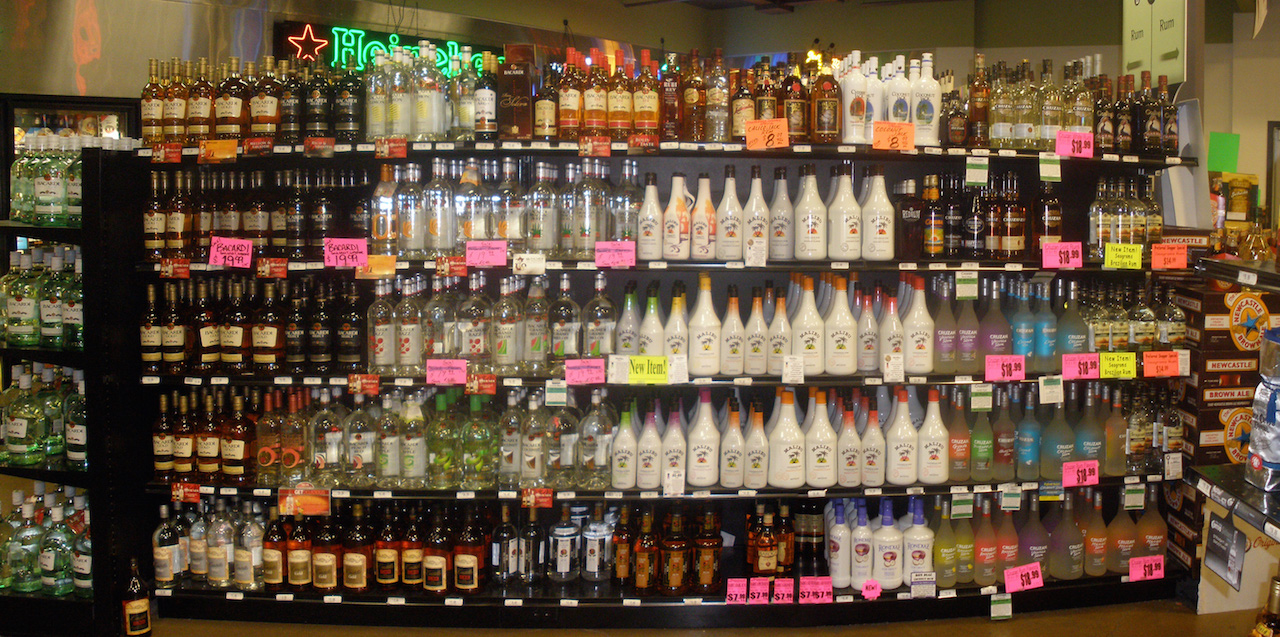 Alcohol display in liquor store