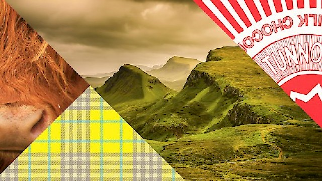Highland cow, tartan, highland scenery and Tunnocks Teacakes