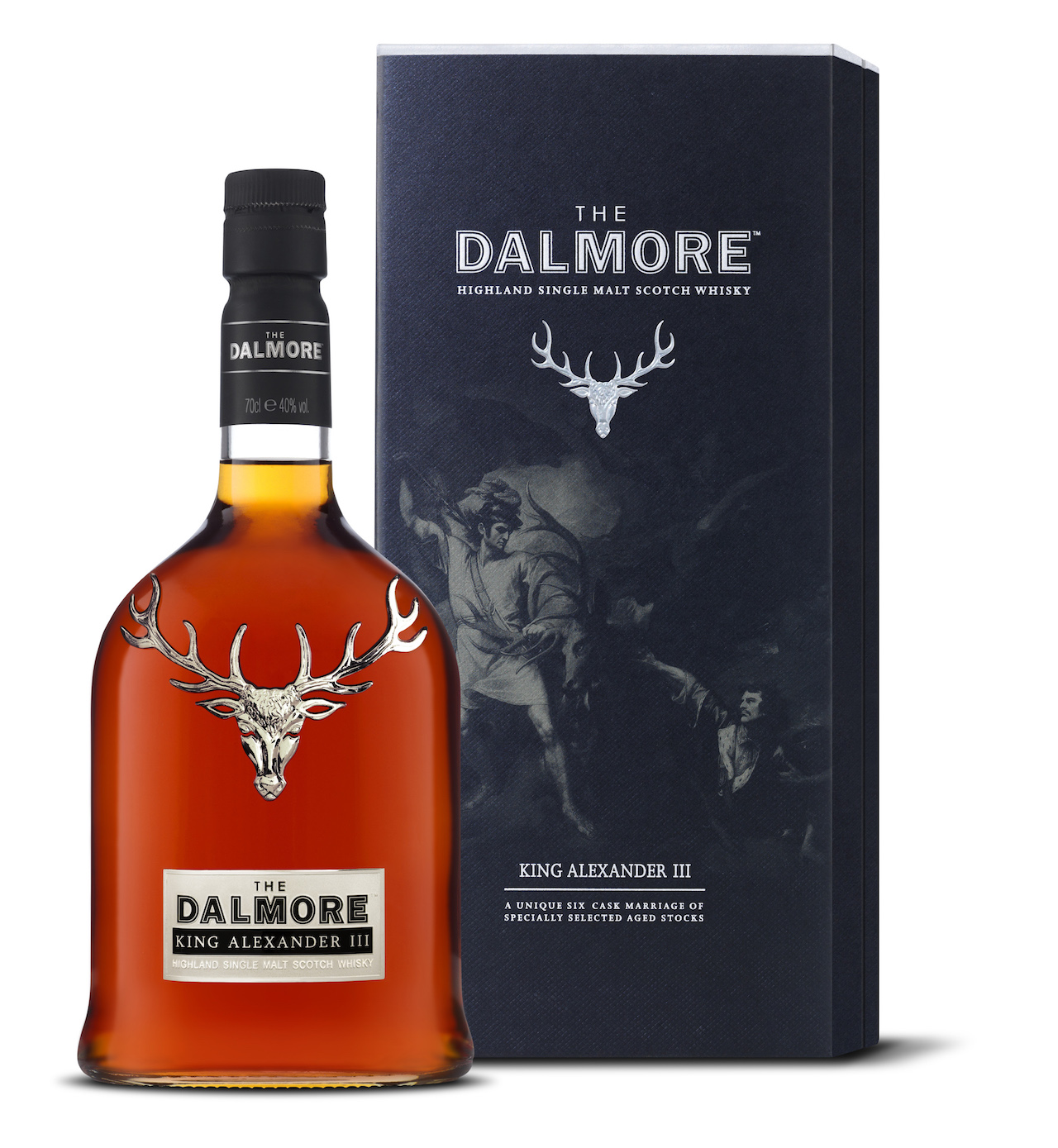 The Dalmore whisky packaging features a solid silver stag to represent the distillery's heritage and links with the Mackenzie clan