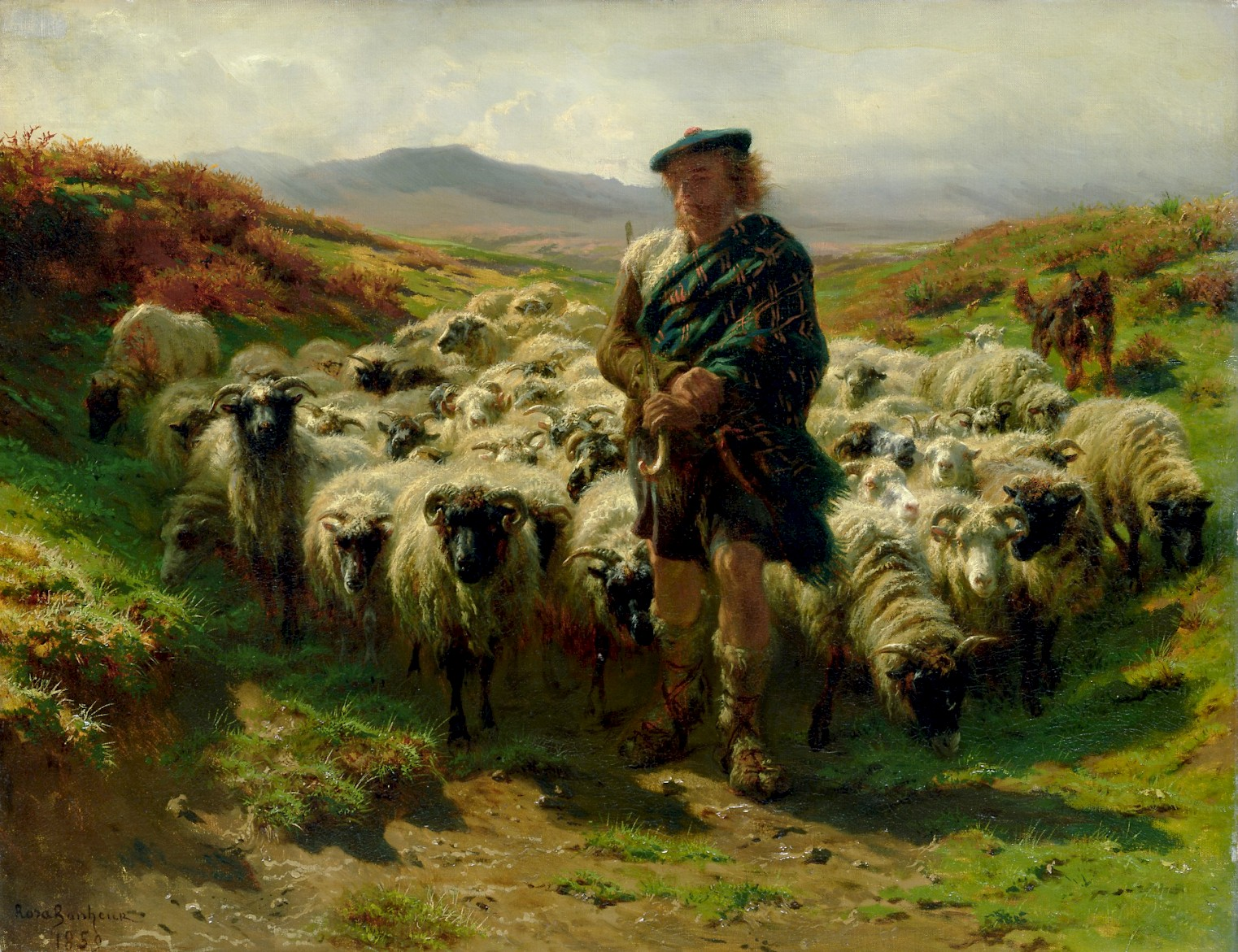 Painting of a highland shepherd with sheep