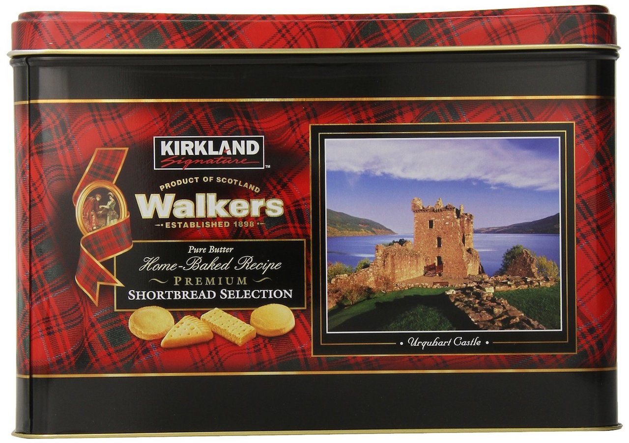 Walkers Shortbread tin with tartan and Scottish castle