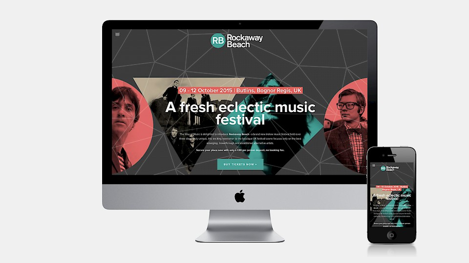 Rockaway Beach festival website and mobile design by 999 Design