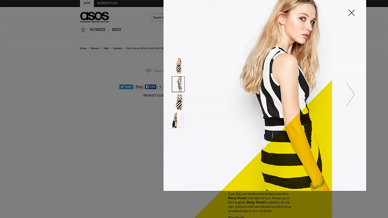 Asos - 360 degrees fashion model in striped dress