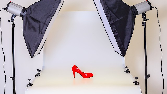 Photoshoot of red stilleto shoe