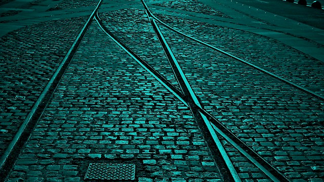 Train tracks joining paths