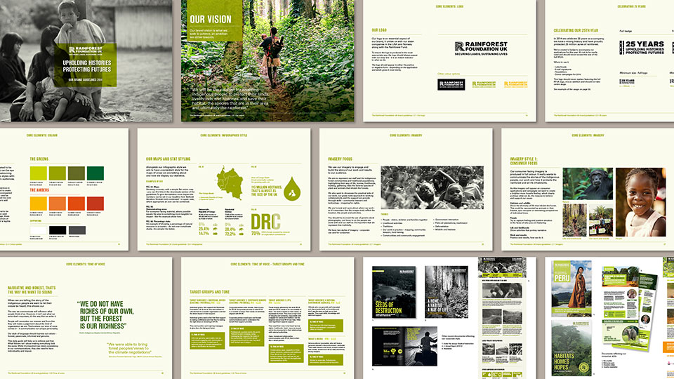 Rainforest Foundation UK brand guidelines by 999 Design