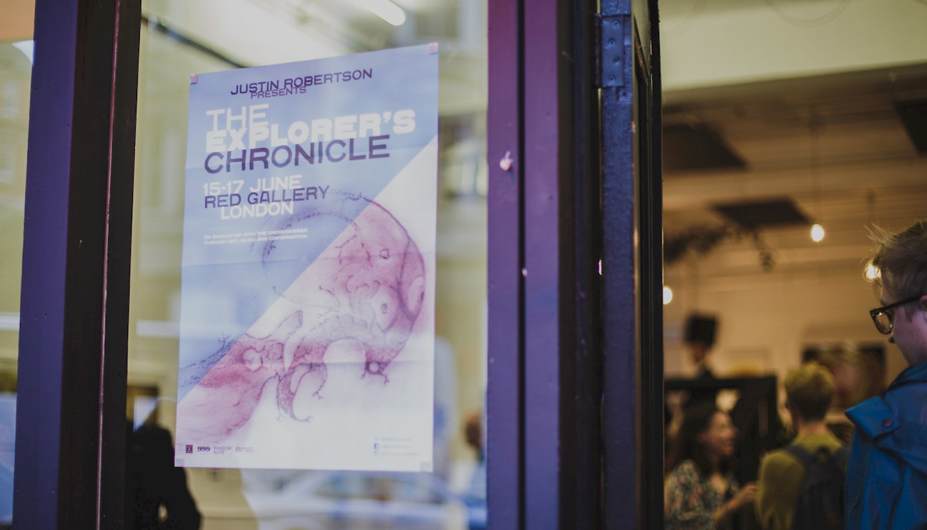 The Explorer's Chronicle on the Red Gallery London window